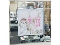 Shih Tzu, Pug, Chihuahua dog pictures with liquid art, crystals & mirror frames