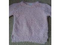 Girls pink sparkling jumper 7-8 years