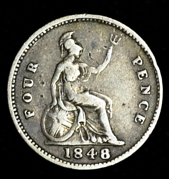 Great Britain 4 Pence 1848/7/6 silver KM#731.1 Victoria 4P Groat