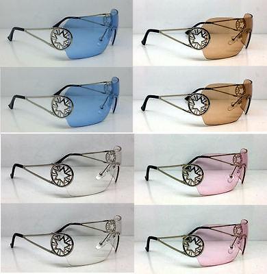2 Pr Bono Sunglasses Shield Star Multi Color Concert Tour Blue Pink Brown Clear