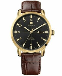 Tommy Hilfiger Men's 1710329 Gold-Tone Casual Leather Watch
