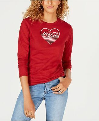 Freeze Coca-Cola-Graphic Red Cotton Long Sleeve T-Shirt Size XS