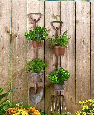 (Hanging Planter Metal Garden Basket Wall Herb Pots Indoor Flower Rustic Outdoor)