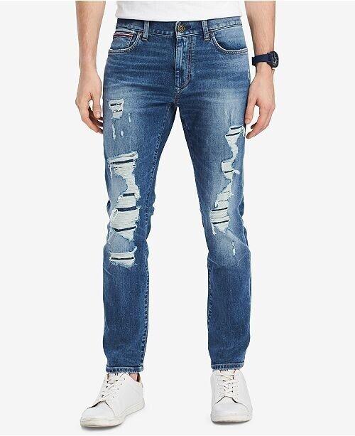 Brauch neueste art Laufschuhe Details about Tommy Hilfiger Straight-Fit Lucas Destroyed Jeans Mens 38x34  New