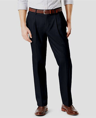 - Dockers Best Pressed Pants Signature Khaki Relaxed Fit Stretch Pleated Black NWT