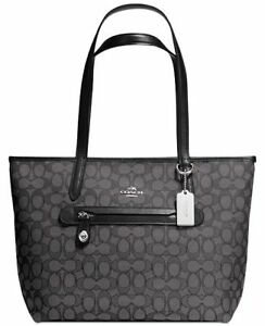 COACH TAYLOR TOTE IN SIGNATURE JACQU Black /Silver