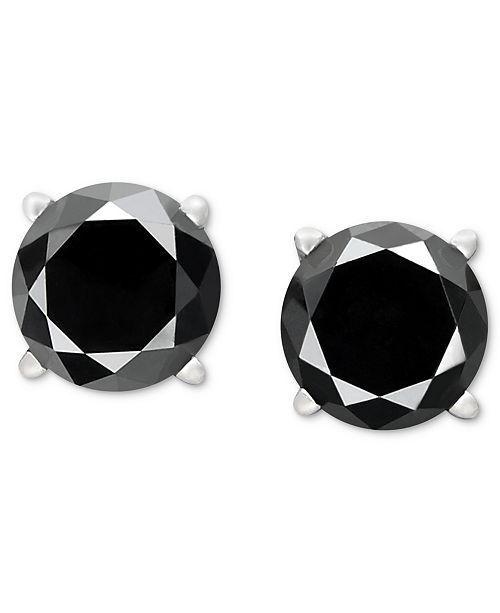 2 Ct Black Diamond Stud Earrings 14K White Gold Over Women and Men Earrings 3