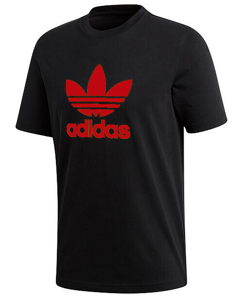 Adidas Men's Short-Sleeve Red Trefoil Logo Graphic T-Shirt