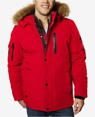 TWO - NAUTICA LOGO PARKAS WITH DETACHABLE HOOD SIZE MENS XL IN RED - NEW