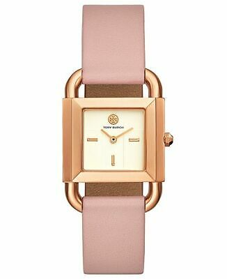 NEW Tory Burch Phipps Rose Gold Pink Leather Strap Watch TBW7205 Logo NIB