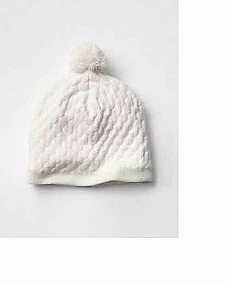 GAP Fit Hat women's knit pompom beige ivory White cotton blend new Fleece lininF