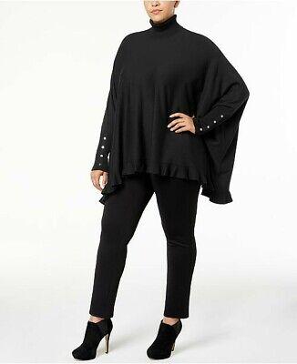 Alfani Black Ruffle Hem Cape Sweater Turtleneck Dolman Sleeves Plus Size 2X NWT