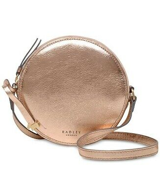 New Radley London Fulham Palace Mall Zip Around Rose Gold Leather Crossbody $188