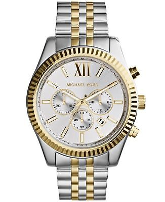 New Michael Kors MK8344 Lexington Silver and Gold-Tone Chronograph Men's (Michael Kors Mens Gold)