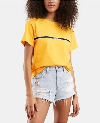 Urban Outfitters Levi's Yellow Black Boxy Crop Top Summer Festival Classic XL