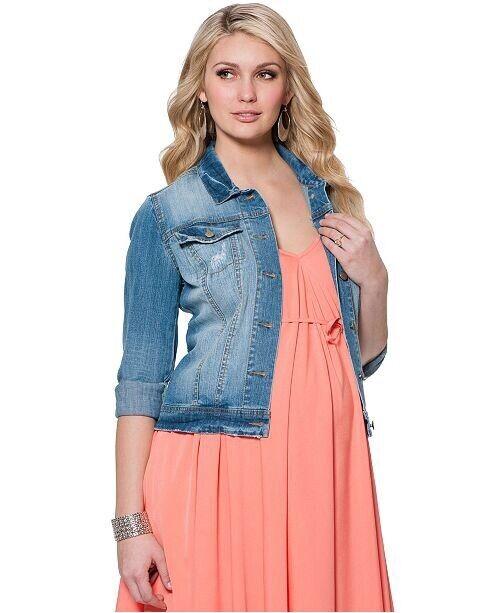 Jessica Simpson Maternity Small S Blue Denim Jean Jacket Distressed