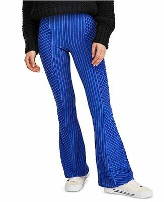 Free People Slim Pull-On Velvet Flare Pants Electric Colbalt Blue NWT