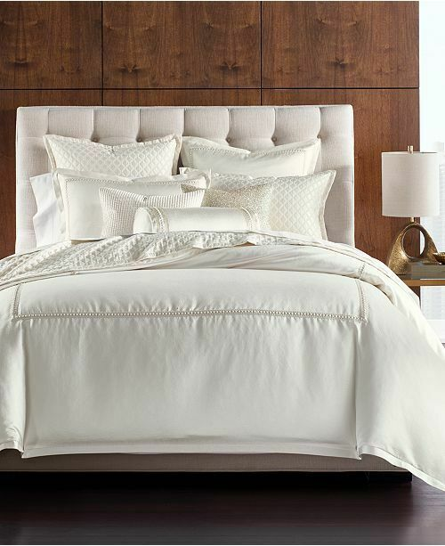 NEW Hotel Collection Luxe Border Ivory QUEEN Duvet Cover Bedding