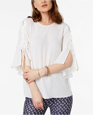 NEW $150 MICHAEL KORS WOMEN'S WHITE CREW-NECK LACE-UP CASUAL BLOUSE TOP SIZE M