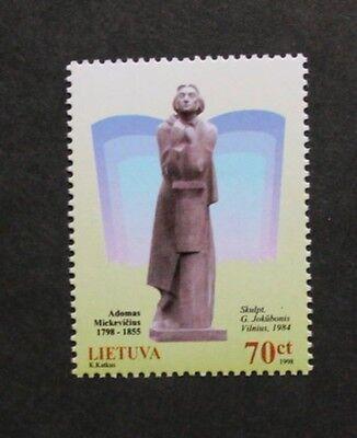 Birth bicentenary of Adam Mickiewicz stamp, 1998, Lithuania, SG ref: 691, MNH