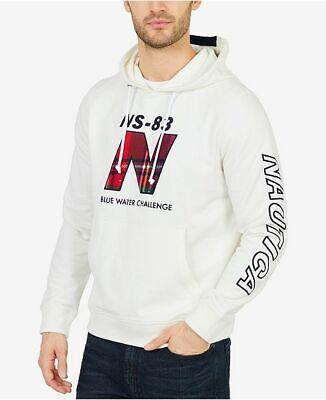 $210 Nautica Men's White Long-Sleeve Sweater Top Hooded Cotton Sweatshirt Size L
