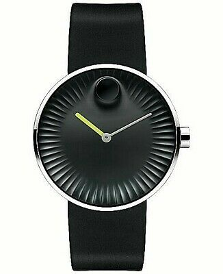 NWT MOVADO EDGE Men Watch Silver SS & Black Silicone SAPPHIRE SWISS 3680003 $495