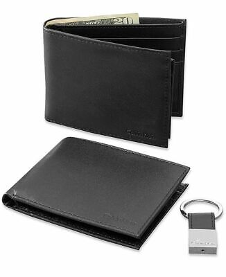 Calvin Klein Matte Leather Bookfold Wallet Key Fob Gift Set Box Rfid 79220 New