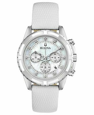 Bulova Women's Quartz Chronograph Diamond Accent Leather Strap 36mm Watch 96P193