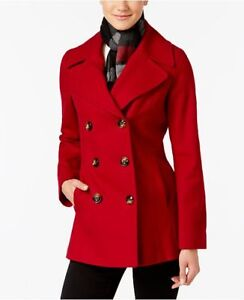Women's red wool pea coat/jacket with scarf, size xsmall, new.