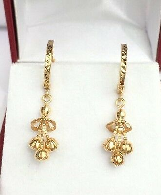 18k Solid Yellow Gold Cute Ball Dangle Hoop Earrings, Diamond Cut 2 (18k Diamond Cut Hoop Earrings)