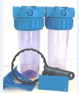 porte filtre a eau double 10 purgeur plastique g2hg ebay. Black Bedroom Furniture Sets. Home Design Ideas