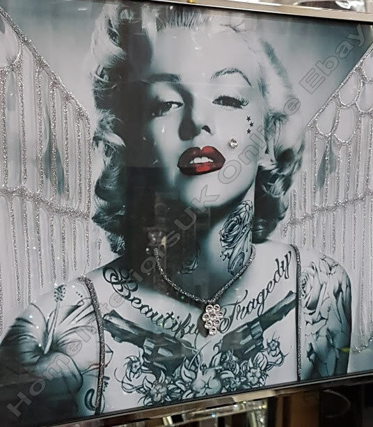 Black & white Marilyn Monroe pictures with wings, crystals & mirror ...