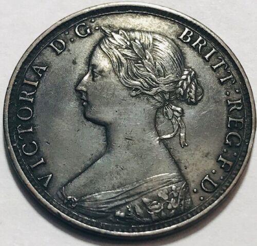 "GREAT BRITAIN - Queen Victoria - 1/2 - Half Penny 1863 Large ""3"" - Extra Fine"