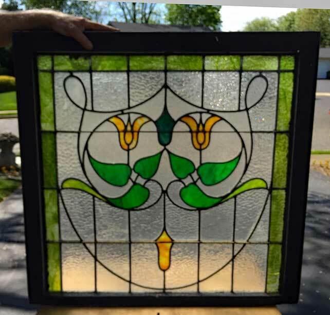 antique STAINED GLASS Window (A)   ART NOUVEAU ( GENEROUS SIZE)