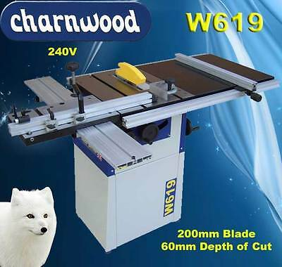 """Charnwood W619 8"""" Cast Iron Table Saw c/w sliding carriage and Table extension"""