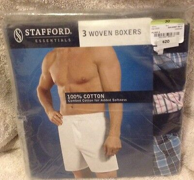 3 Pack Stafford Mens Size 30 100% Cotton Woven Boxers Underware (Plaid 4 Multi)