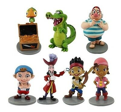 Jake & Neverland Pirates Playset 7 Figure Cake Topper * USA SELLER* Toy Doll Set - Neverland Pirates