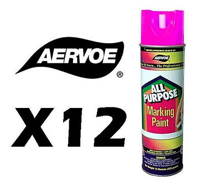 (Aervoe All Purpose Aerosol Marking Paint - Case of 12 - 15 oz net wt. - Pink)