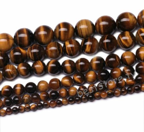 Beads - Natural Tiger's Eye Gemstone Round Loose Spacer Beads 4mm 6mm 8mm 10mm 12mm