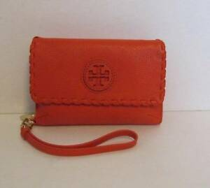 40bd63b00a Tory Burch Marion Foldover Smartphone Wristlet Equestrian orange wallet  strap