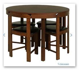Hygena Alena Circular Solid Wood Table & 4 Chairs with cushions - Walnut