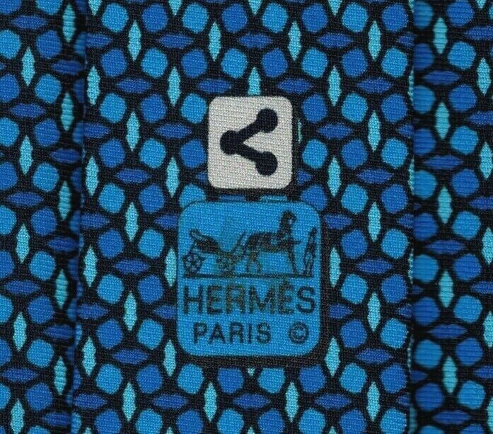 Super Cool New Tag Hermes Tie Heavy Silk Twill Blue SHARE Rare Almost Mint