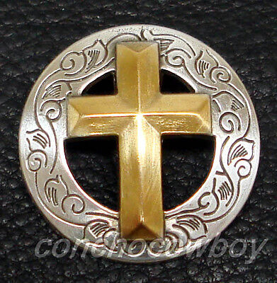 """WESTERN ANTIQUE GOLD CHRISTIAN CROSS CONCHO 1-1/8"""" SCREW BACK"""