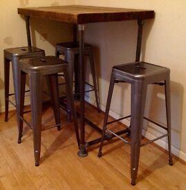 Reclaimed Industrial Scaffold Pipe Bar Table & Metal Rustic Stools