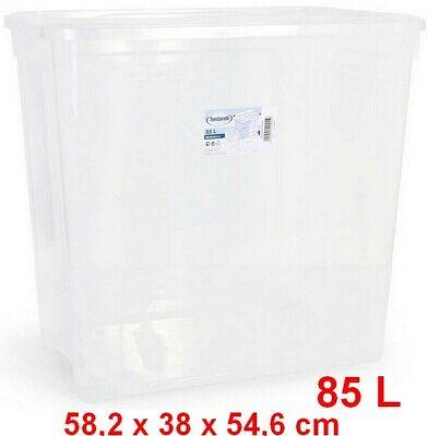 Caja de Almacenaje con Tapa 85 L,transparente,58,2 x 38 x 54,6 cm,ropa,objetos