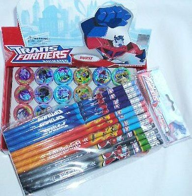 Transformers 12 Pencil & 12 Self Inking Stamper Topper Combo School Party Gifts](Wholesale Transformers)
