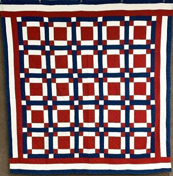 Patriotic! c 1900s Windowpane QUILT Antique Red White Blue Americana!