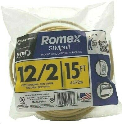 Romex Southwire Simpull 28828226 122 With Ground 15 Ft Nm-b Cable Wg Wire New