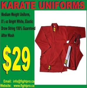 KARATE UNIFORM,RED MEDIUM WEIGHT,WITH BELT. 60%OFF SPECIAL DISCOUNT 4 MARTIAL ARTS CLUBS (9050 364`04400 WWW.FIGHTPRO,CA