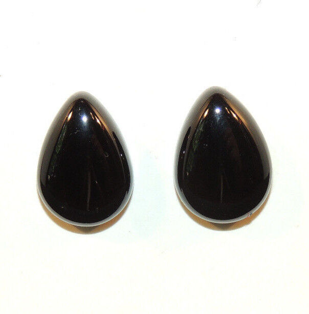 Black Agate Cabochons 13x18mm with 6.5mm Dome Set of 2 (8892)